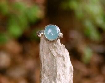Green Chalcedony Sterling Silver Oxidized Boho Gypsy Southwestern Statement Ring
