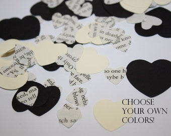 Heart Die Cut Confetti Table Decor 200 pieces - Made from recycled book pages