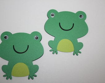 Set of 6 - Frog with Moustache Party Decor and Scrapbooking Embellishments