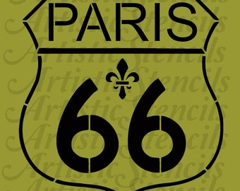 STENCIL Route 66 Paris Sign    10x9