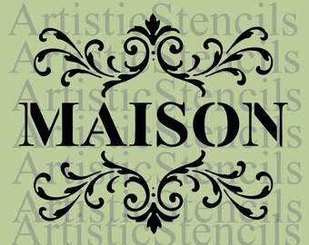 STENCIL Maison with Scroll Brackets  10x12.23
