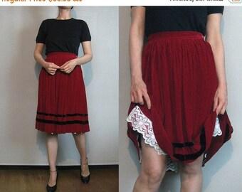 SUMMER SALE 50s RED Velvet Stripes vtg Pleated Pleats Wine Black Striped Mini Skirt xs Small 1950s
