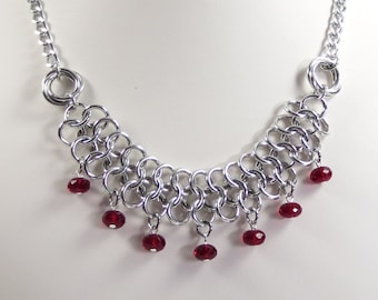 Red Czech Glass and Chain Mail Necklace, European 4 in 1 and Love Knot Necklace, Chainmaille Jewelry, Red and Silver Color Jewelry