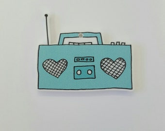 B181 Printed Boombox Acrylic Charm Pendant **STOCK CLEARANCE**