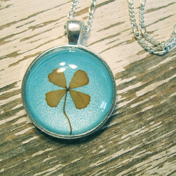 Real Four Leaf Clover Necklace - Silver, Blue and Green