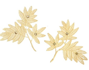 Pair Rhinestone Lace Appliques, Flower Appliques, 50's Vintage Sewing Supply