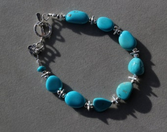 Sleeping Beauty Turquoise Bracelet with sterling silver by EvyDaywear, one of a kind handmade beaded bracelet