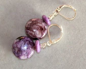 Charoite and sugilite with sterling silver earrings