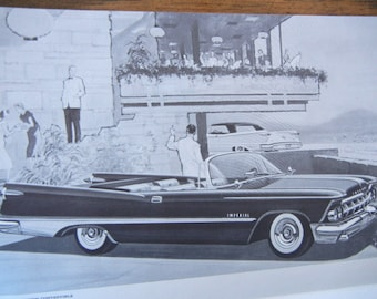 Chrysler Crown Imperial vintage Advertising Brochure 1959 BW graphics fold out car ephemera