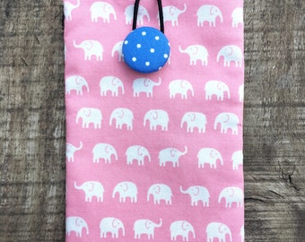White Elephant on Pink/ iPhone 7 Plus Padded Sleeve/Handmade iphone padded Sleeve/ Samsung Galaxy Note Case