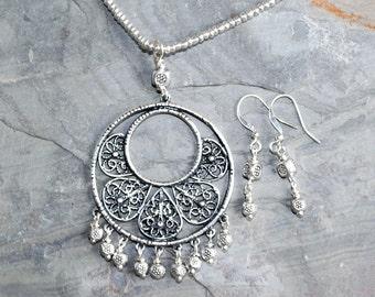 Bohemian Jewelry Set, Filigree Jewelry Set, Flower Jewelry Set, Silver Jewelry Set, Handmade Jewelry Set, Seed Bead Jewelry Set, For Her