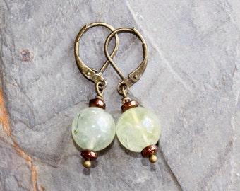 Light Green Earrings, Prehnite Earrings, Natural Stone Earrings, Green Brown Earrings, Natural Earrings, Handmade Earrings, Spring Earrings