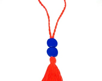 Tassel Necklace Long Necklace Orange Knitted Necklace Handmade Statement Textile Necklace Blue Beads Boho Necklace