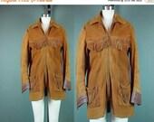 40% OFF 60s Fringe Jacket Coat Rust Suede Western Well Worn Vintage 1960s Distressed Brown Hippie Cowboy Cowgirl
