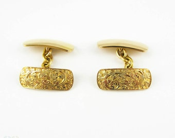 Vintage Deakin & Francis Cufflinks in 18 Carat Yellow Gold, Engraved Single Face Double Sided Cuff Links.