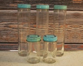 Lot of Five Vintage Glass Screw Top Alka Seltzer Bottles with Original Screw Top Lids