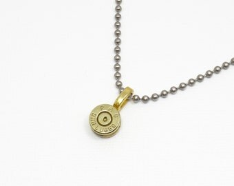 Bullet Casing Necklace - 9mm Bullet Casing Necklace / Pendant / Charm - Stainless Steel Ball Chain