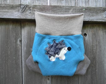 Upcycled  Wool Soaker Cover Diaper Cover With Added Doubler Teal/ Taupe With Fox Applique LARGE 12-24M Kidsgogreen