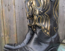 Vintage ACME Phoenix Rising  Womens // Foil Flame cutout Gypsy Cowboy Cowgirl boots  Leather Rodeo Western Wear / Gypsy Queen / Wanderlust