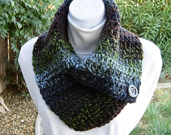NECK WARMER Scarf with Two Large Buttons, Black Olive Green Rust Brown Blue Buttoned Cowl, Soft Striped Crochet Knit Ready to Ship in 2 Days
