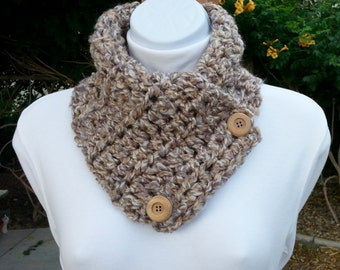 NECK WARMER SCARF Oatmeal Buttoned Cowl Beige Off-White Gray Tweed, Wood Buttons, Extra Soft Acrylic Crochet Knit Scarflette..Ready to Ship