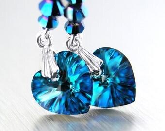 Dark Blue Heart Earrings Sterling Silver Earrings Blue Swarovski Crystal Heart Dangle Earrings Peacock Blue Drop Earrings Heart Jewelry