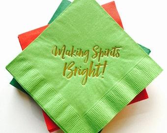 Making Spirits Bright Gold Foil Napkins - Set of 20