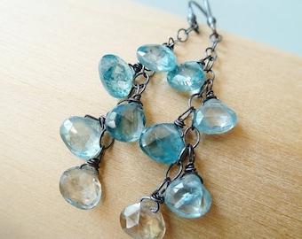 3DAY SALE Blue Zircon Silver earrings. Dangle earrings. December Birthstone earrings. Wire wrapped. Drop earrings. Ready to ship. Christmas