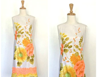 Vintage Hawaiian Dress - 60s dress - shift dress - sheath- summer wedding - womens sundress - Stan Hicks - M L