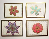 Handmade Set of 4 NOTECARDS and ENVELOPES - Gold Foil Embossed Doodle Flowers hand painted cards