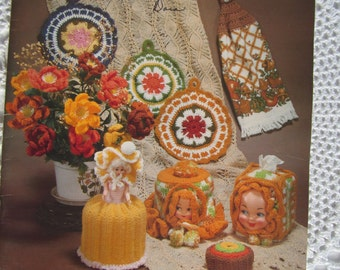 Vintage Crocheted Favorites & Originals of Jessie Abularach Vol 2 Potholders Towel Topper Tissue Cover Afghan Pillow Toys