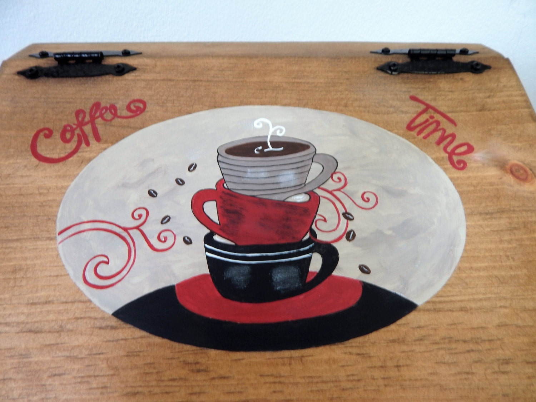 Coffee Kitchen Theme Decor Bread Boxwooden Bread Boxcoffee Themed Decorcoffee Themecoffee