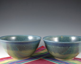 One Pair - 24oz Blue Green Soup bowl, Serving bowl Stoneware Pottery by Douglas Bechler, Cereal Bowl