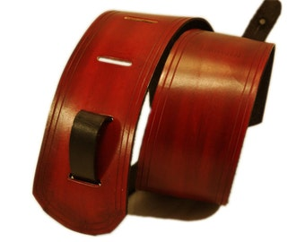 Leather Guitar Strap - Oxblood Red