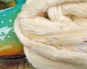 SOMETHING NEW!  Undyed Pulled Sari Silk Carded Roving Silk Waste Blending Fiber Now Comes In Cream Colorway!  Great Price