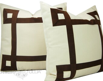 Ribbon Pillow Covers - Greek Key Pillow - Set of TWO - Brown Suede Ribbon - Brown and cream - natural cotton - euro shams - ready to ship