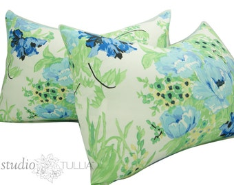 Set of Two - Vintage Floral - 15 x 23 inch - Chintz - SALE - Rose - Rose Pillow - Blue and Green - Pillow Sham - ready to ship