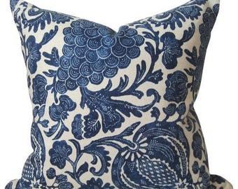 Indigo Batik Floral - Decorative Pillow Cover -  19X19 - Navy Blue - Modern Batik - ready to ship