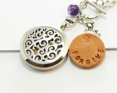 Aromatherapy Locket Stainless Quote Necklace Religious Tierracast Cross and Amethyst Gemstone Hand Stamped  Secret Message Leather Pads