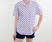 Vintage 90's Docker's brand short sleeved button down women's shirt, white with large purple polka dots - Medium