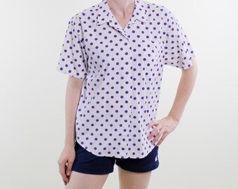 Vintage 90's Docker's brand short sleeved button down women's shirt, white with large purple polka dots - Medium