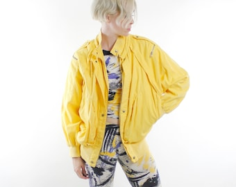 80's Vintage cotton jacket, washed out yellow, batwing sleeves, puffy oversized shape, epaulets, zippers, snaps, oh my! - Medium