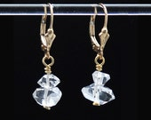 Herkimer Diamond earrings / Herkimer earrings / Crystal earrings / Two Herkimer Diamonds stacked with 14k Gold Fill
