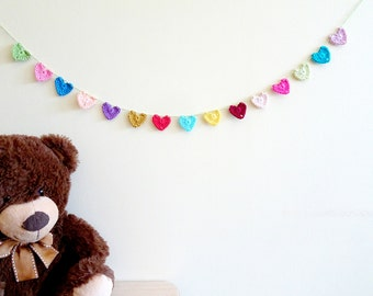 Colorful heart garland - 1st birthday garland - crochet heart garland - kids birthday party decorations - kids room decor ~29.5 inches