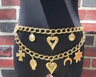 Vintage 80s Charm Belt.  Gold Charm Belt.  Gold Chain Belt.  Escada Double Chain Carm Belt