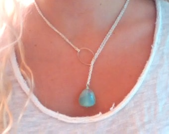Short/Long Lariat Necklace: Chalcedony or Labradorite Nugget on Silver