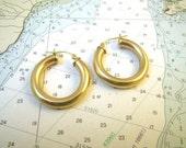 "14K Gold Filled Chunky Hoop Earrings 1"" Diameter"