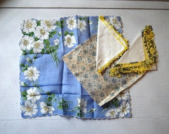 Four 1950s Linen Hankies - Blue &  Yellow Floral and Hand Crocheted Borders