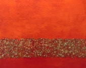 orange and red abstract painting, metallic, textured, original painting titled Tapestry, FREE SHIPPING (u.s. only)