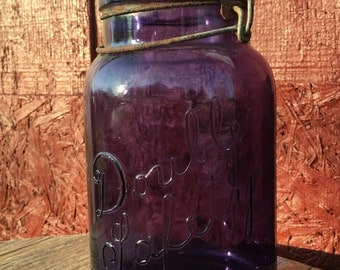 Vintage Royal Purple Mason Jar Double Safety Mason Jar